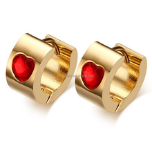 316L Satinless Steel Gold Huggie Earring Jewelry For Women With Red Heart Crystal