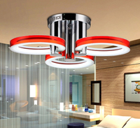 54W 3 Light LED Round Red Silver Gold Blue Acrylic Chandelier;Pendant Light for Room;LED Ceiling Light with 3 Light