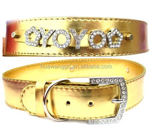 Top quality shiny gold stocked customized personzlied collar for large dog