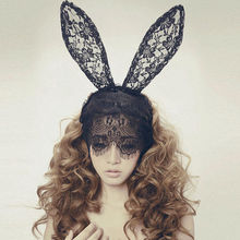 New Fashion Hair Bands Cutout Mask Lace Veil Sexy Prom Party Halloween Masquerade Dance Rabbit Ear Mask 7477