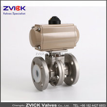 Made in China CF8M Pneumatic150LB Flanged PFA lined ball valves