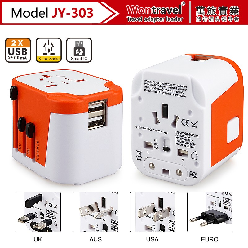 EU UK AUS US plug travel usb smart charger electrical plugs outlet 230V ac power adapter
