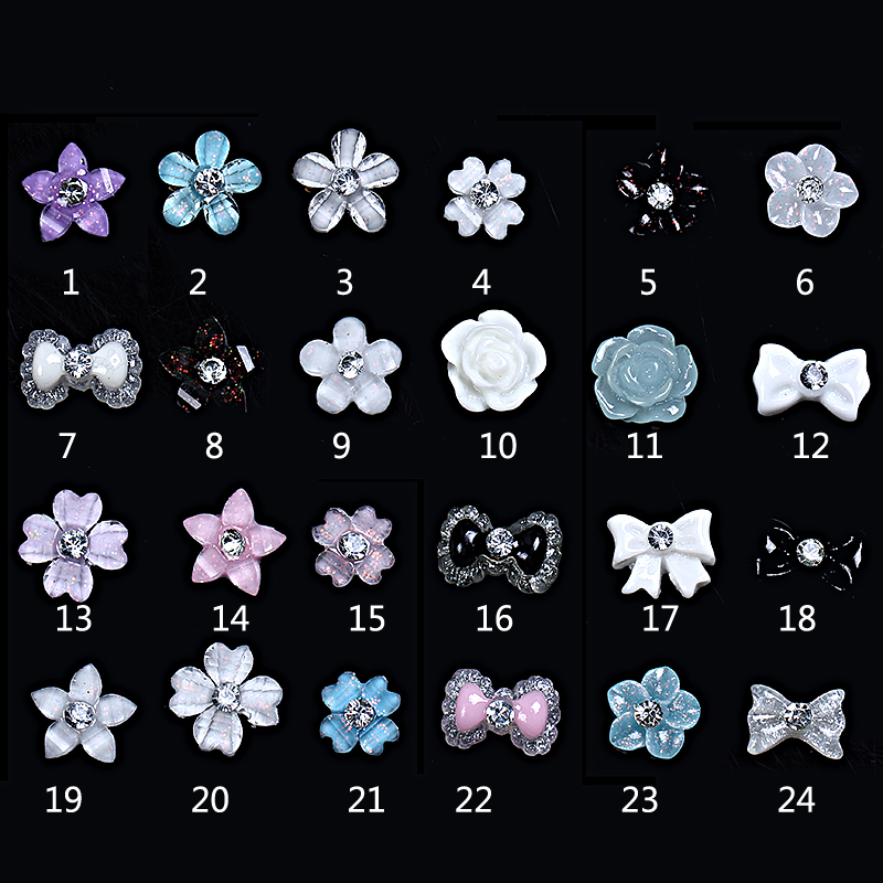 2017 Hot New Girl fashion Plastic flower resin 3D nail sticker 3d flower acrylic nail art sticker wholesale