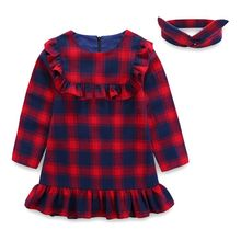 Girl clothing Long sleeved <strong>girl's</strong> <strong>dress</strong> with big red lattices and lotus leaves