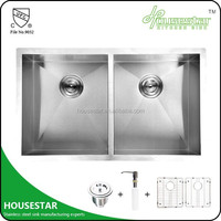 HOUSESTAR deep double kitchen sink stainless steel handmade two bowl kitchen sink water channel HS3219