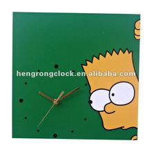 Wooden Childrens' Clock Funny wooden wall clock square wood clock