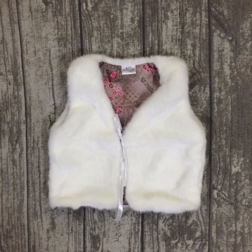 baby girls fall/winter children clothes fur vest all-matched boutiuqe top black kids wear soft warm sleeveless