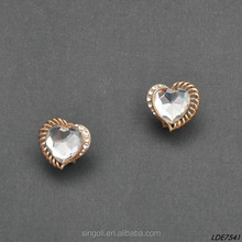 Bijuterias atacado Fashion Big Heart Shape Crystal With Diamond Ornament Gold Sparkling Delicate Stud Earrings