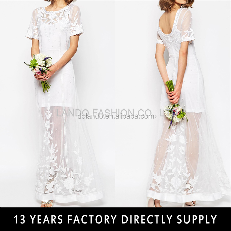 White short sleeve wedding dress bridal 2016 open back crochet lace gown