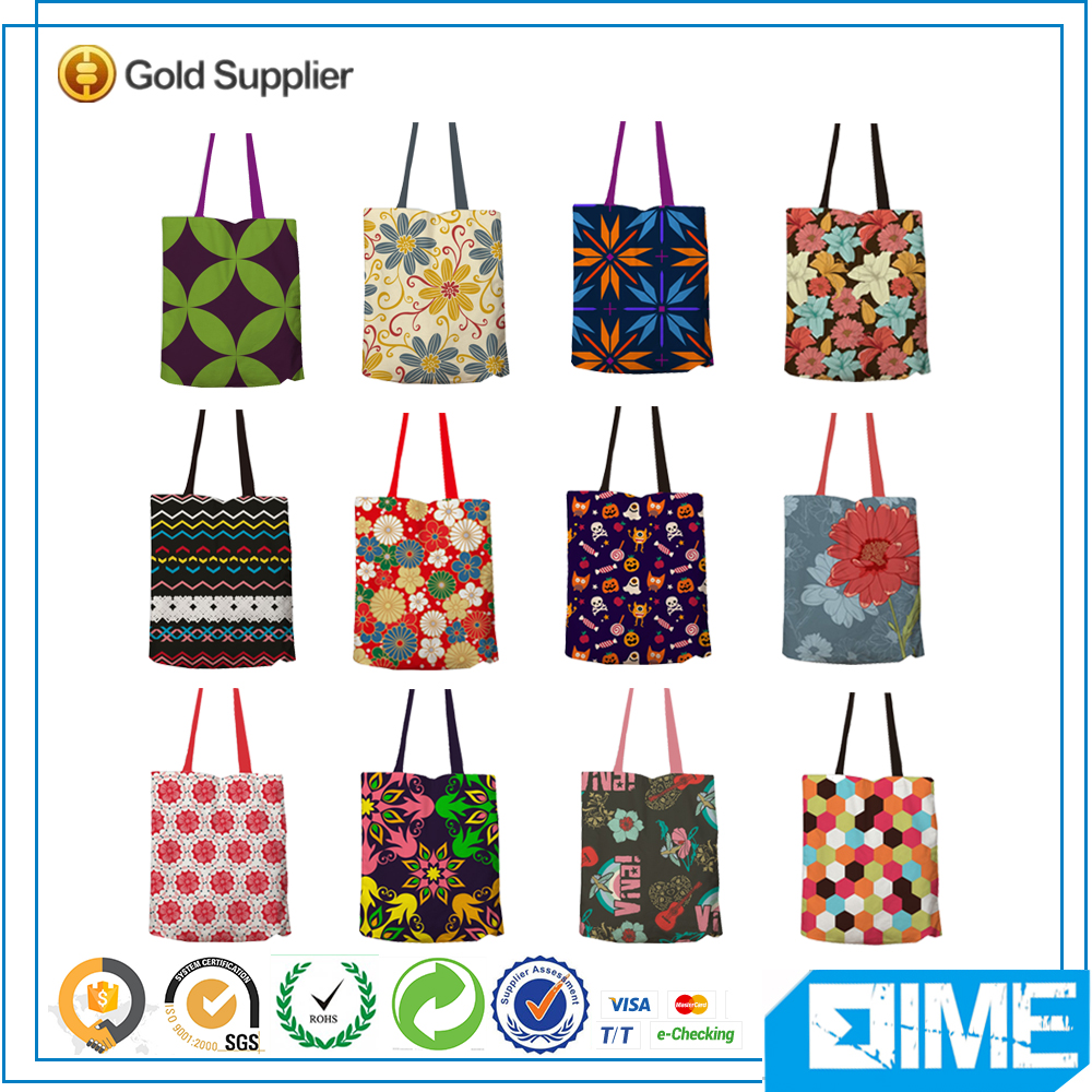 Handbag Logo Printed Round Flower Cotton Bags Customized Canvas Shopping Bag