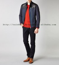 leather patch long sleeve dark blue jacket guangdong
