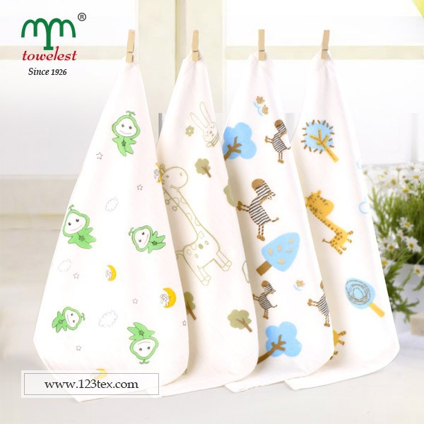 grade A bamboo baby towels cartoon printed terry and gauze towels from China supplier