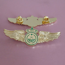 Promotional gold wing airline flight wing badges for aviation (BS-JL-LP-15011609)