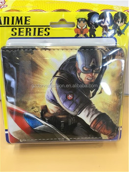 Wholesale Hot Comics Purse Captain America Throw A Shield PU Wallets DNAF5EE050
