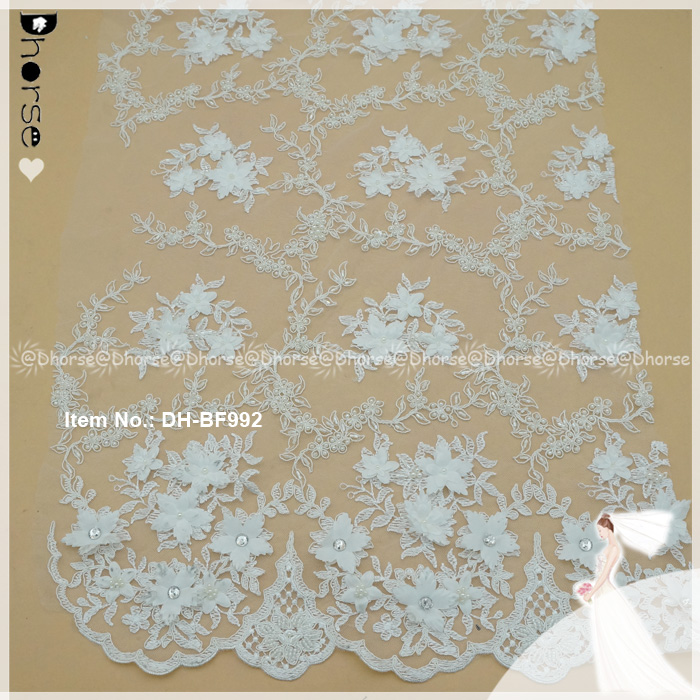 Latest French Laces 2017 Tulle Design 3d Flower Embroidery Beaded Net Lace Fabric With Rhinestone DHBF992