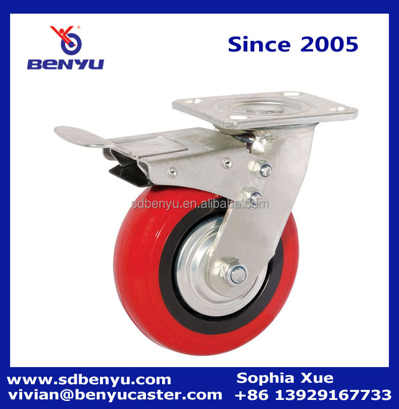 Heavy dolly cart front brake pu wheel caster