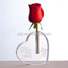 glam heart shape crystal flower vase