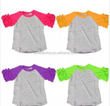 Hot Sale Wholesale Casual 100% Cotton O-Neck Short ruffle Shirts Summer Types Of raglan T Shirts
