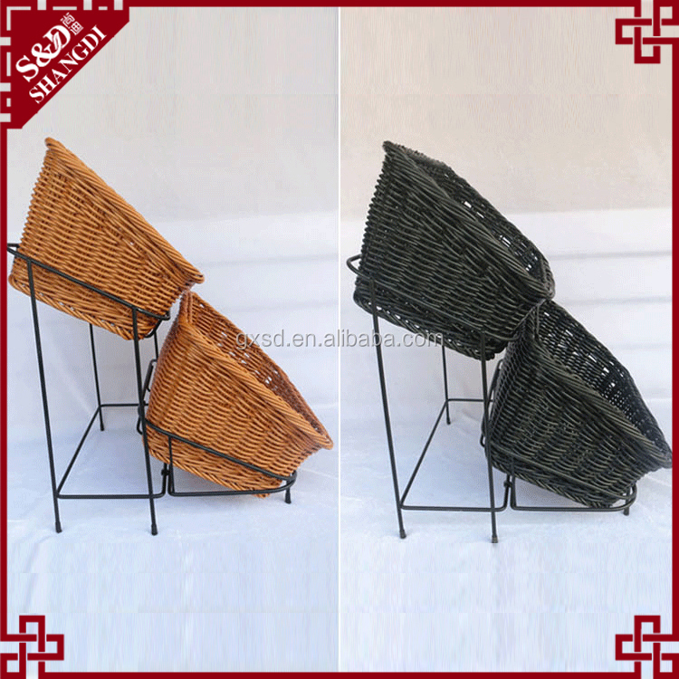 New bread rack with 2 wicker baskets supermarket used delicate iron frame 2 tier fruit rack