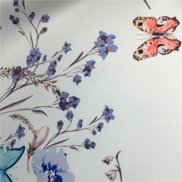 Polyester Material Satin Technics Printing Butterfly Fabric for Women Suit