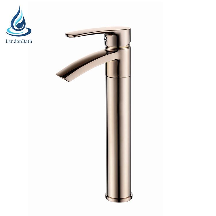 High level bathroom basin faucet, luxury rose gold deck mounted basin taps