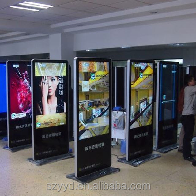High quality big size slim floor floor standing lcd advertising player taxi cab digital signage round lcd display