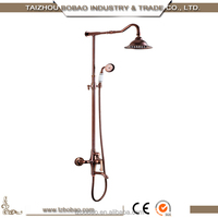 European Style wall mounted antique Rose Gold bath waterfall Shower Mixer Tap with shower set
