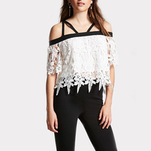 womens blouses 2018 cold shoulder midi sleeve lace top pleated shirts fashion mesh top