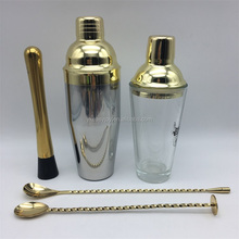 3PCS 450ml/16oz Stainless Steel Gold Plated Cocktail Glass Shaker/Mixer Gift Set+Mixing Bar Spoon+Mint Mojito Muddler+OEM Logo