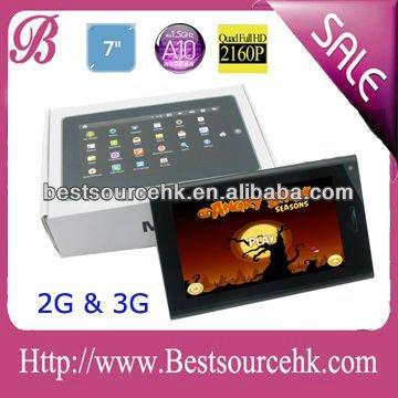7 inch multi-touch Android 4.0 Tablet pc allwinner A10 cortex a8
