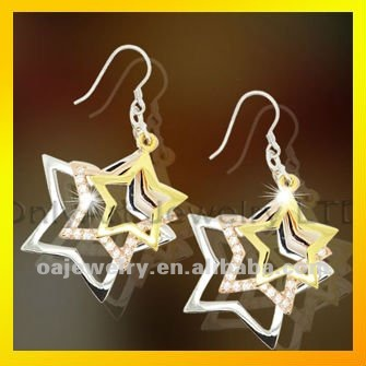 nickle free silver jewelry big star shape dangle earrings with three tones plating