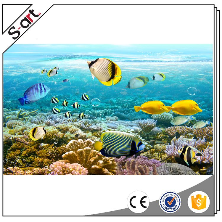 China manufactory colorful wallpaper 3d murals sea design for wall