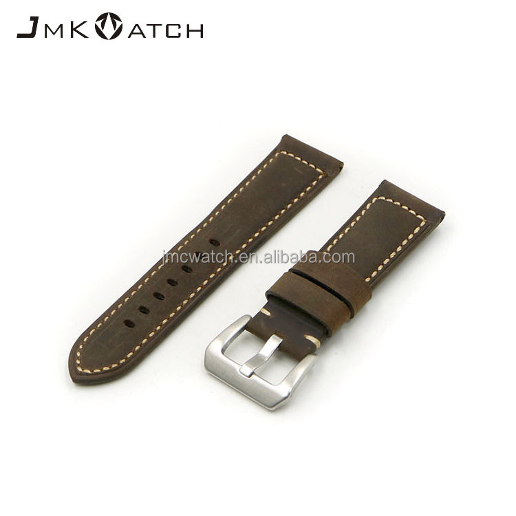 leather watch strap genuine big buckle 22mm watch band