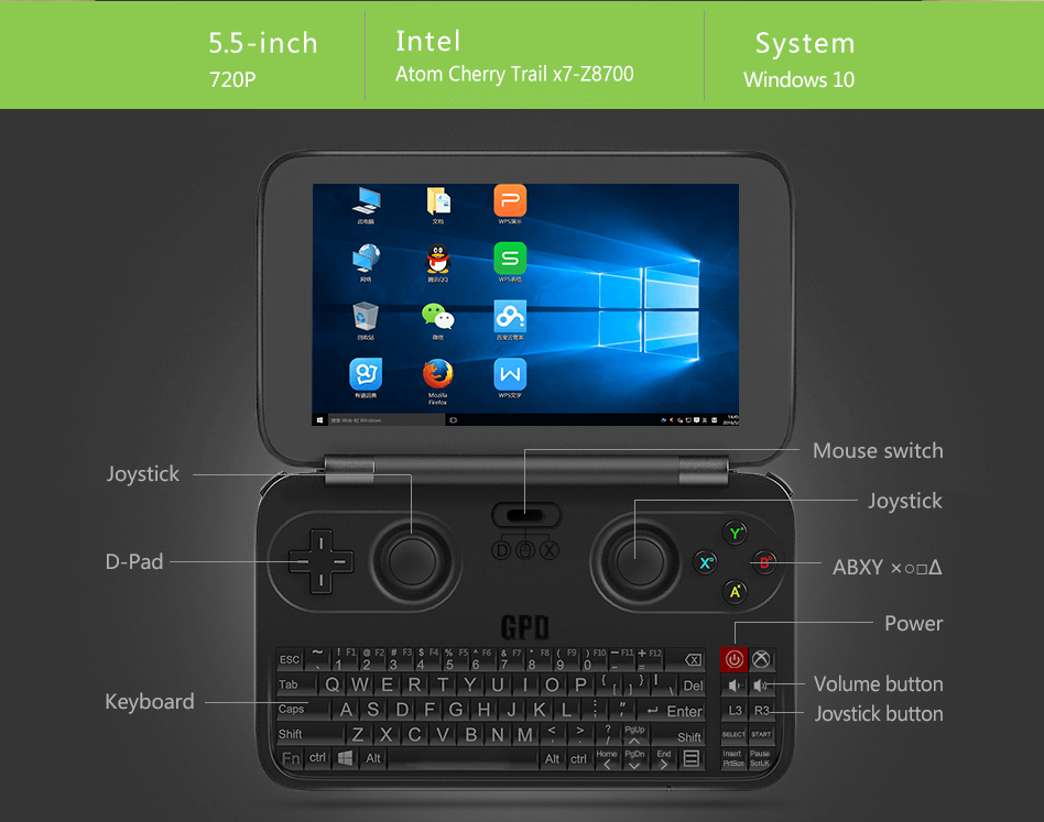 "GPD WIN Gamepad Laptop NoteBook Tablet PC 5.5"" Handheld Game Console Video Game Player x7-Z8700 Win10 Bluetooth 4.1 4GB/64GB"