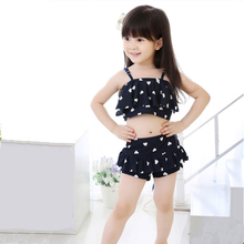 Wholesale fancy custom sexy shiny lovely little girls two piece swimwear bikinis children swimsuit