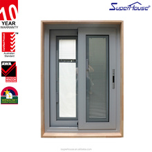Aluminum Glass Sliding Windows Fire Rated Residential Interior Timber Reveal Double glazed blinds inside Windows With grille