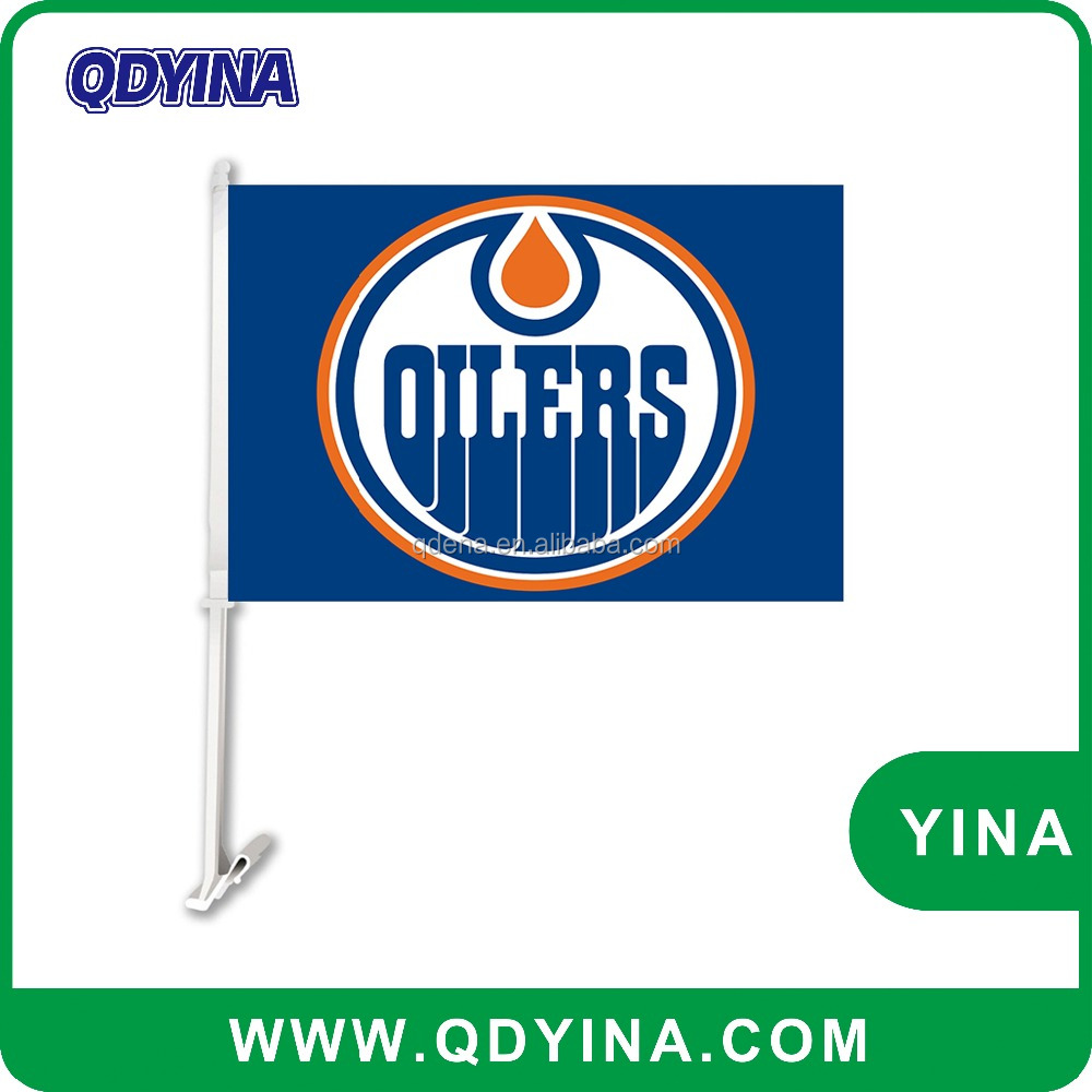Professional design 30x45cm double kintted polyester Edmonton Oilers car flag