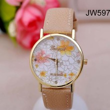 2014 European new trend to reach New Arrival Hot Selling Beige Flower Leather Wrist Watch Flower Geneva Watch Women Dress Watch