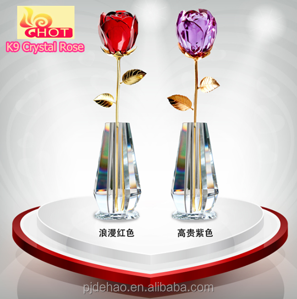 Hot Sale Popular Rock Crystal Rose Decoration For Birthday Day Gifts