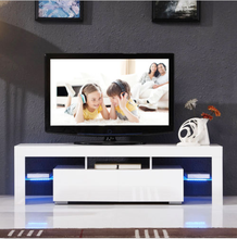 Modern LED TV unit cabinet stand matt body and high gloss doors for living room <strong>furniture</strong>