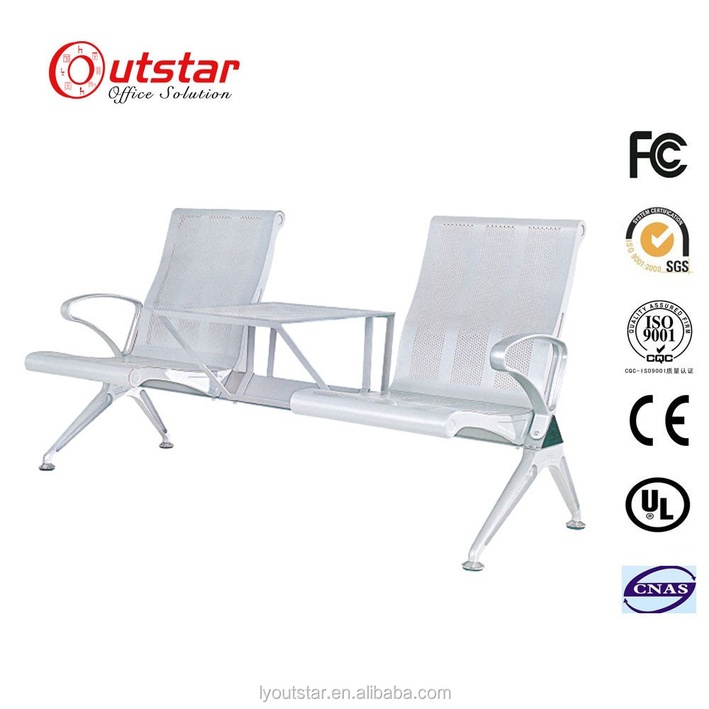 Factory price airport steel bench waiting chair with tea table