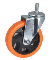 Medium duty PU/PVC Industrial swivel Castor wheel,4 inch Caster with Thread Stem,Threaded stem swivel caster with brake