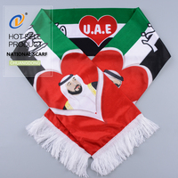 Hot selling new Black Gold Tassel Uae National Day Cotton Knitted Flag Scarf