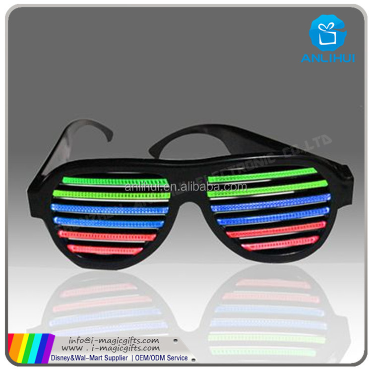 Neon LED Light Up Shutter Shaped Glasses For Rave Costume Party