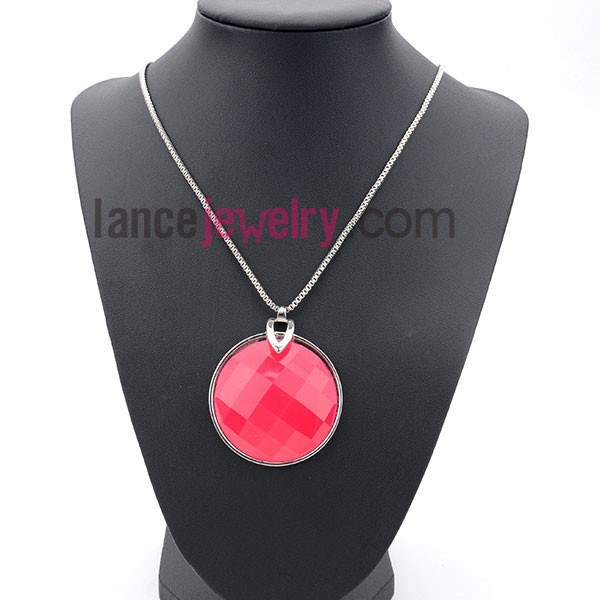 New Design Make With Rhinestone Jewelry Long Necklace Pink Pendant Desiner For Necklace