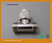 female jack to female to male plug t shape uhf connector adapter