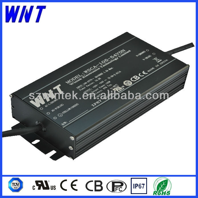 CE UL TUV CB approved constant current waterproof IP67 70W 2.1A dimmable LED driver