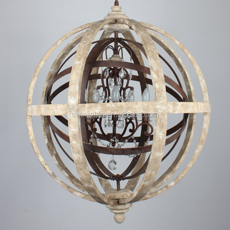 CE certification large ORB chandelier wood,rustic iron &cyrstal pendant light