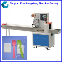 horizontal plastic disposable cutlery packaging machine