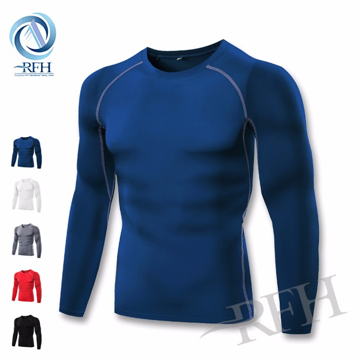 Winter clothes wholesale men's running polyester spandex long sleeve t shirt
